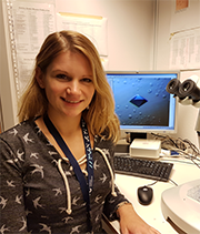 Janina Sprenger in the crystallography lab at Lund University